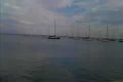 Wasser vom Lake Michigan mit einem Boot
